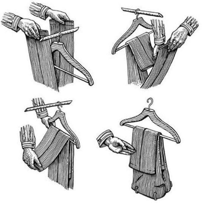 Как правильно вешать брюки на вешалку