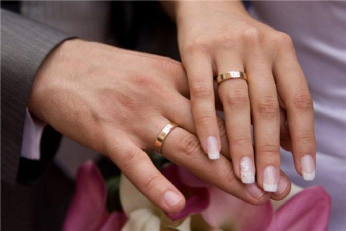 Обручальные кольца на пальцах