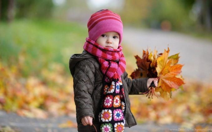 Ребенок держит букет из листьев